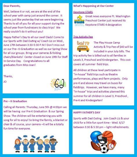 sample preschool newsletter     word