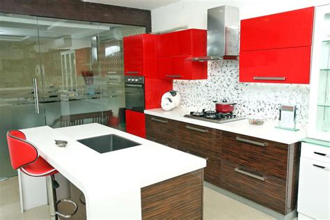 open island kitchen  red cabinets  reshma rasheed