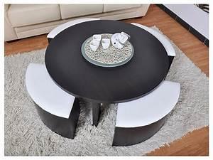Table Basse 4 Poufs : table basse zoe 4 poufs inclus mdf weng et blanc ~ Teatrodelosmanantiales.com Idées de Décoration