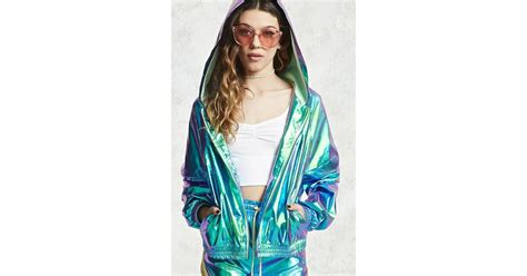 Forever 21 Holographic Windbreaker Jacket In Green