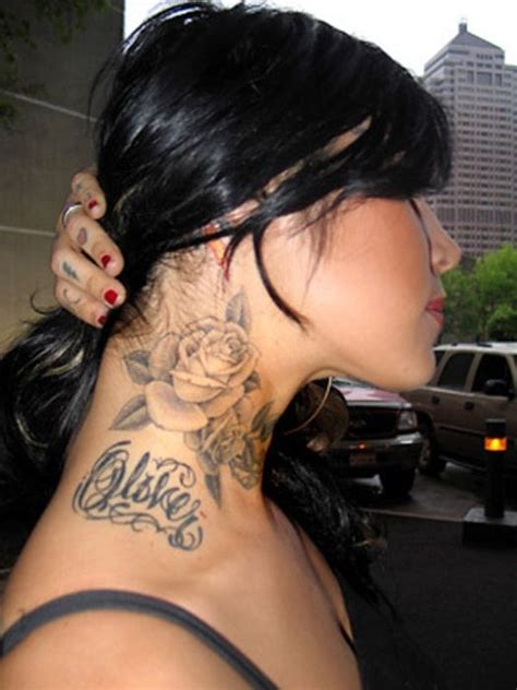 female neck tattoos neck flower tattoos  women love