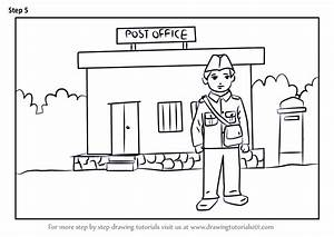 Learn How To Draw Postman Outside Postoffice For Kids