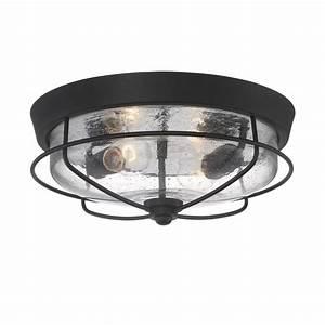 Shop portfolio valdara 145 in w matte black outdoor flush for Outdoor flush mount light