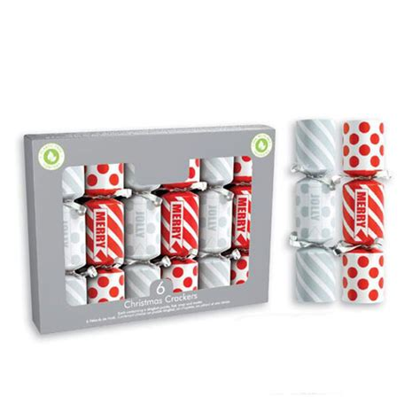 Mini Red & Silver Christmas Crackers 15cm / 6 in - Pack of ...