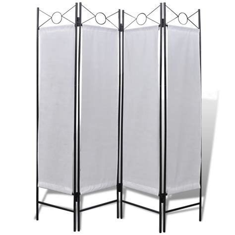 foldable room divider 4 panel room divider privacy folding screen white 5 3 quot x 5 11 quot vidaxl com