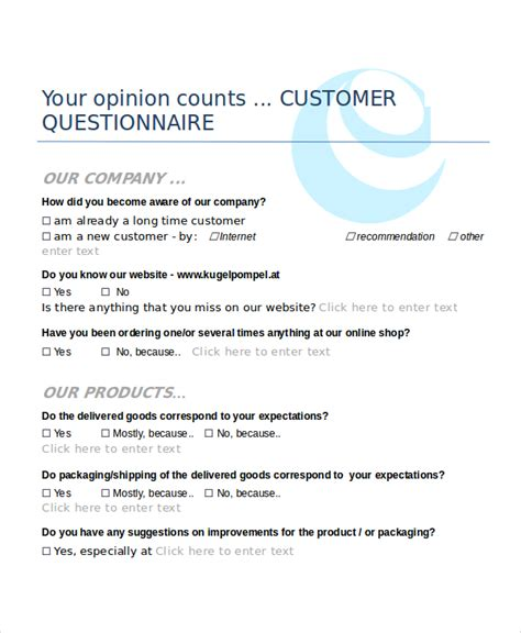printable   customer questionnaire template word