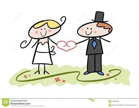 Funny Wedding Couple Stock Vector. Illustration Of Heart