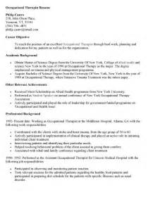 ot staff resume resume for occupational therapist