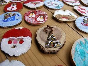 bricolage de noel boules de noel en bois rondelles de With bricolage peinture sur bois