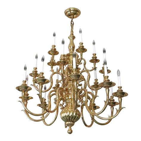 Large Brass Chandelier by Salvaged Waldorf Large Colonial Style Brass Chandelier