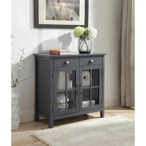 Small Accent Cabinet - 2 drawers grey accent cabinet with 2 glass doors