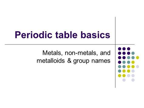 Periodic Table Basics Authorstream
