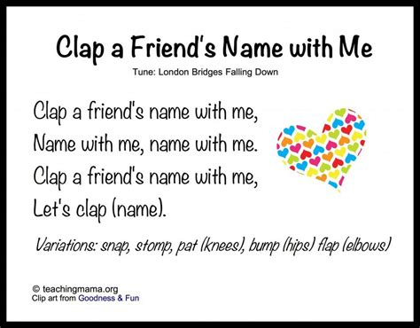 8 songs to begin a preschool day 847 | Clap a Friends Name with Me 1024x800