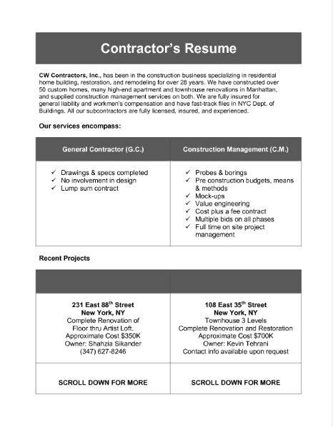 Contractor Resume by General Contractor Resume Talktomartyb