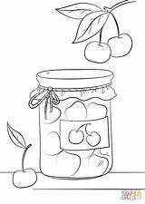 Jar Coloring Pages Jam Drawing Jars Cherry Printable Binks Drawings Adult Ausmalbilder Lebensmittel Desserts Cartoons Bible Categories sketch template