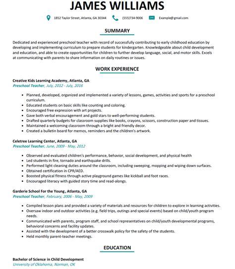 preschool resume sle resumelift