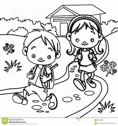 Coloring Students Young Children Walking Outline Cartoon