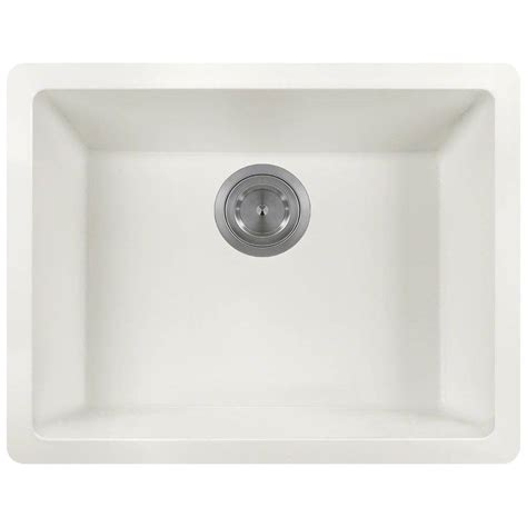 white undermount kitchen sinks single bowl polaris sinks undermount granite 22 in single bowl 2116