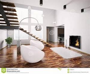 Interiore Moderno Con Il Camino E La Scala 3d Fotografia