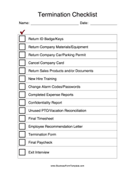 termination of employment form template termination checklist template