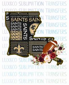 Sublimation Designs Free Louisiana New Orleans Saints Flower Football State