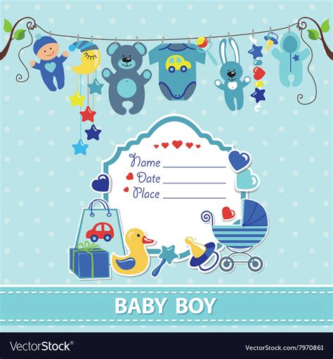 Baby Shower Card Templates The Image New Born Baby Boy Card Shower Invitation Template Vector Image