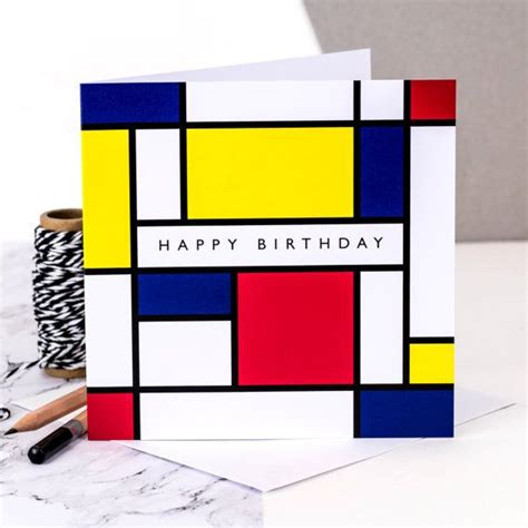 birthday card happy birthday card mondrian piet