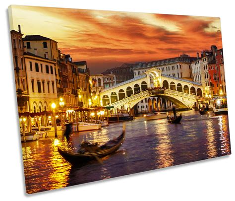 Venice Italy Sunset Single Canvas Wall Art Picture Print