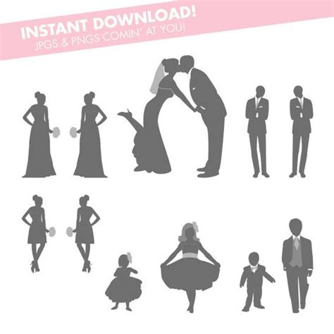 gray wedding party silhouettes instant   diy