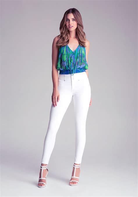 Bebe High Waist Skinny Jeans in White - Lyst