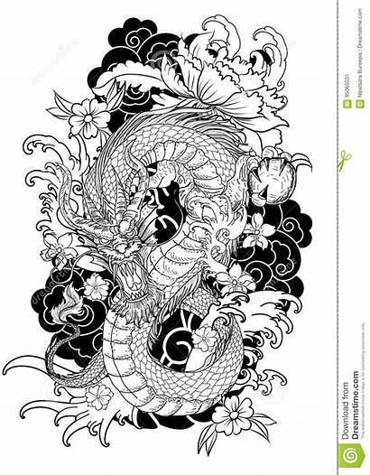 Dragon Japanese Tattoo Coloring Line Drawing Traditional