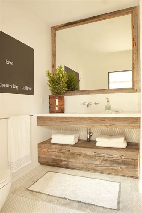 floating wood vanity lovely powder room features reclaimed wood mirror over floating reclaimed wood vanity paired
