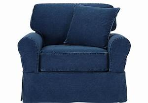 Picture of cindy crawford home beachside denim chair from for Cindy crawford furniture replacement slipcovers