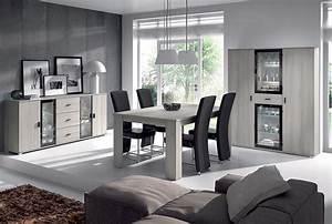 Salle manger complte coloris chne gris claudia for Meuble salle À manger avec chaise couleur salle a manger