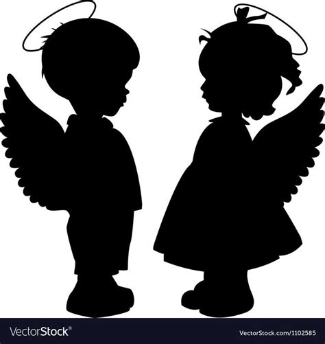 black angel silhouettes isolated  white