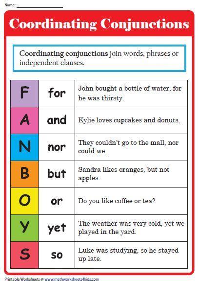 conjunction worksheets conjunctions worksheet
