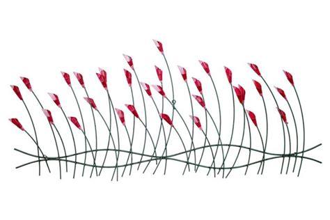 skulpturen wanddeko metall blume rot metall wandskulptur wa ein designerst 252 ck