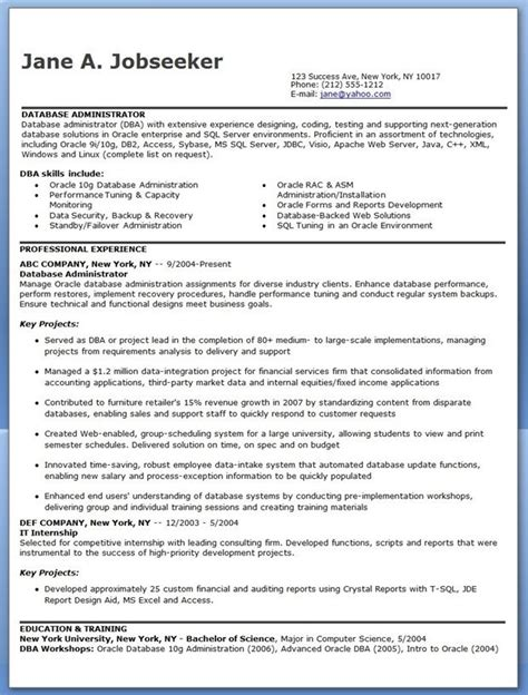 Resume Database by Database Administrator Resume Sle Creative Resume