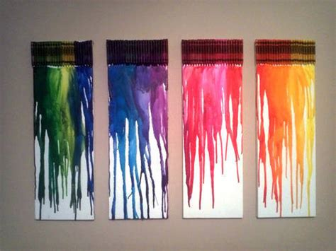 diy wall art melted crayon canvases college gloss
