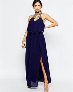 tfnc vestido largo a capas con cuello alto adornado de With tall dresses for wedding guest