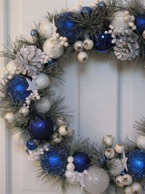 blue and white christmas wreath ready to ship ornament