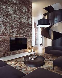 Moderne Wohnzimmer Wandgestaltung : moderne klinker wandgestaltung ein penthouse in kiew ~ Michelbontemps.com Haus und Dekorationen
