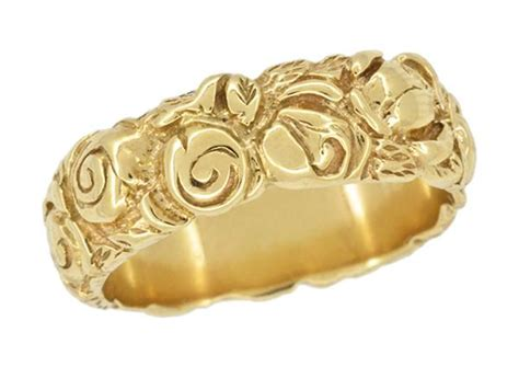 1960s engraved roses wedding band in karat yellow gold jewelry mall