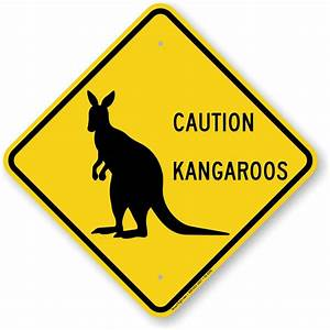Caution Kangaroos Crossing Sign - Slow Down, SKU: K2-0291