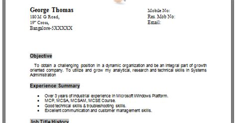 Windows Server 2008 Administrator Resume Filetype Doc by 10000 Cv And Resume Sles With Free Exle Of A Resume