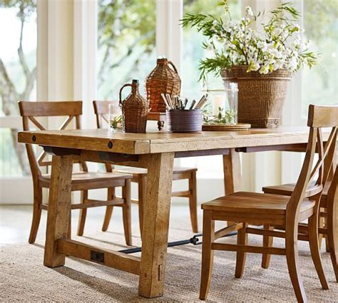 pottery barn table ls benchwright extending table and set of 6 aaron chairs