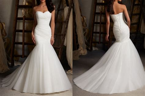 Wedding Dresses Mermaid : White/ivory Mermaid Wedding Dresses, Organza Bridal Gown