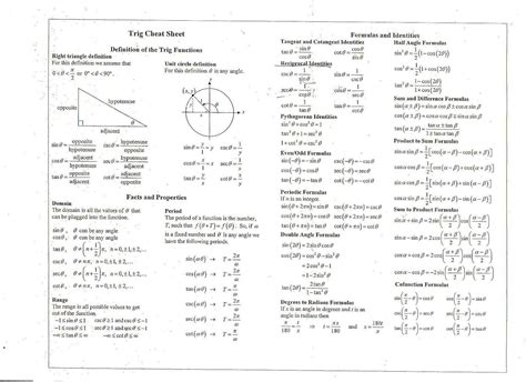 Trigonometry Review Worksheet Math References Math