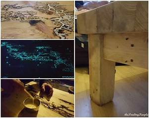 chunky pallet coffee table with glow in the dark resin With glow in the dark coffee table
