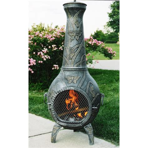 butterfly cast iron chiminea patio fireplace